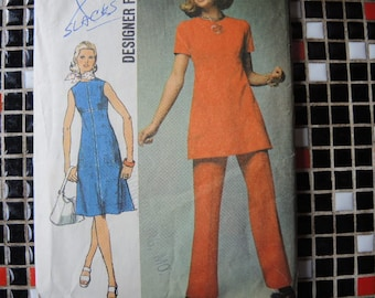 vintage 1970s simplicity sewing pattern 9456 designer fashion dress or tunic and pants size 14