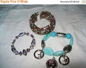 50% OFF vintage bracelet lot, bead cuff bracelet, faux coin bracelet, bead bracelet