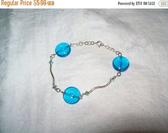 SALE 50% Off Blue bead bracelet, glass bead bracelet, fashion bracelet, cuff bracelet, sterling clasp bracelet