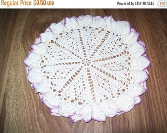 50% OFF Vintage crochet doily, handmade doily, purple and white ruffled doily