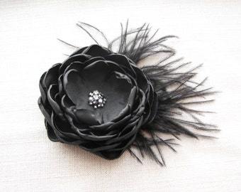 Black Flower Hair Clip, Wedding Hair Piece, Black Bridal Head Piece, Fascinator with Feathers