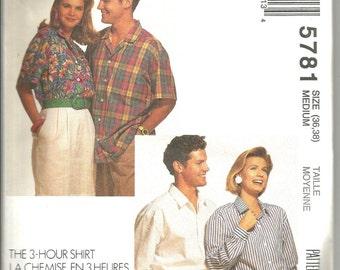 McCalls 5781 uncut vintage size medium 36 - 38 mens - womans shirt
