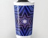 Blue Stars Kaleidoscope Ceramic Travel Mug, Photo Travel Mug, Coffee Mug, Photo Mug, Unique Mug, Abstract Art, Fine Art Photography