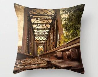 Railroad Bridge Photo Throw Pillow, Throw Pillow, Photo Pillow, Photography, Pillow Covers, Art Throw Pillows