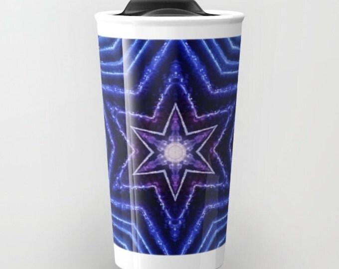 Blue Stars Kaleidoscope travel mug, Photo Travel Mug, Coffee Mug, Photo Mug, Unique Mug, Abstract Art, Photography