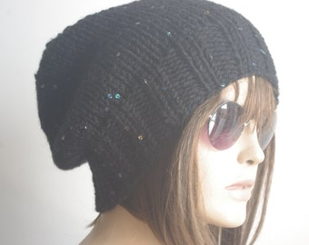 READY SHIP GIFT for Womens hat - Chemo Hat chunky knit Slouchy black Beanie Slouch Hat Fall Winter Beanie Autumn