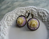 Ivory Rose, Purple Cameo, Floral Earring, Flower Earring, Floral Jewelry, Leverback French Earwires, Vintage Cabbage Rose Style, Rose Flower
