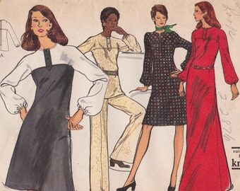 "FF 70s Retro Dress, Tunic & Pants Vintage Sewing Pattern - Vogue 8418 - Size 12, Bust 34"", Very Easy Vogue UNCUT"