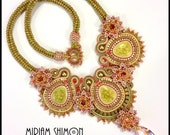 Floral Soutache necklace in Green, Pink, Gold, Olive, OOAK