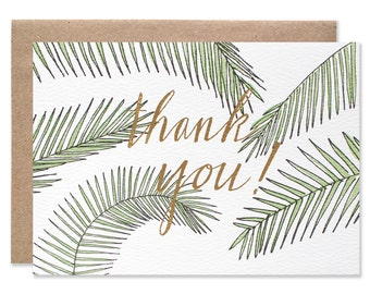 Thank You Palms With Gold Foil