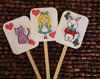 Alice in Wonderland Cupcake Toppers - set of 12 - Alice in Wonderland birthday party