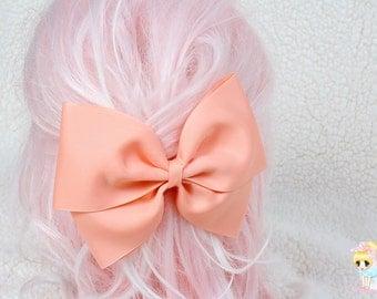 Ligth Coral Hair Bow, Peach Hair Bow, Kawaii Hair Clip, Cosplay Bow, Pastel Goth, Large Oversized Bow, Hair Bow For Girls, Solid Hair Bow