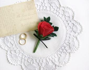 Wedding Boutonniere, Red Rose, Felt Flower, Men's Buttonhole, Wedding Flowers, Groom's Boutonniere, Lapel Pin, Groomsmen Flowers, Handmade