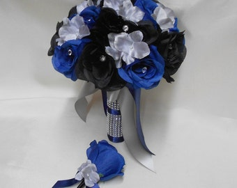 Wedding Silk Flower Bouquet Your Colors 2 pieces Black Navy blue Bride's Bouquet Silver Gray Hydrangeas with Boutonniere FREE SHIPPING