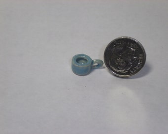 New Handmade Wheel Thrown Pottery Miniature Turquoise Coffee Cup Tea Cup