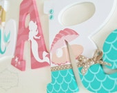 Coral and Mint Mermaid Themed Personalized Wooden Letters for Nursery