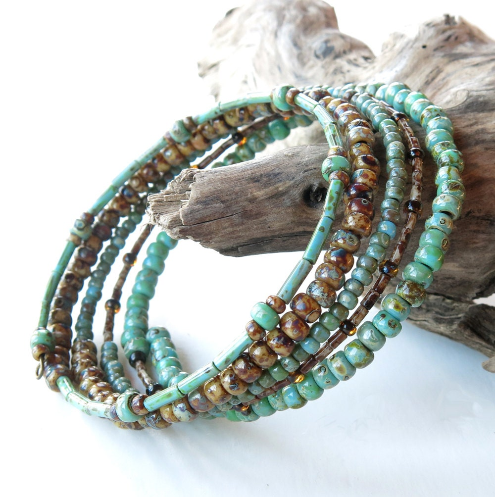 Stacked beaded bracelets Brown & turquoise Picasso beads