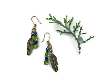 beaded feather earrings // blue and green stone jewelry