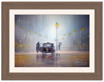 London Taxi Cab In Rain Illustration Photographic Print - Various Sizes - Gift Idea