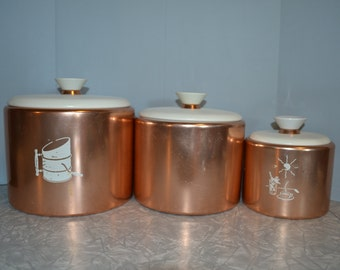 Mirro Copper Canister Set of 3 ~ Vintage Canisters ~ Mid Centruy ~ Epsteam