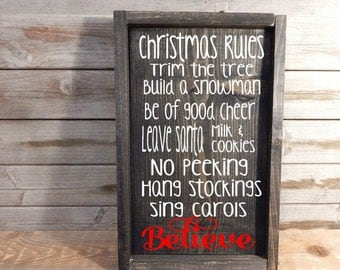 Christmas Rules. Solid wood sign. Christmas decor