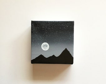 Black and White Starry Night | Original Acrylic Painting | 4x4 Inches | By Janelle Anakotta