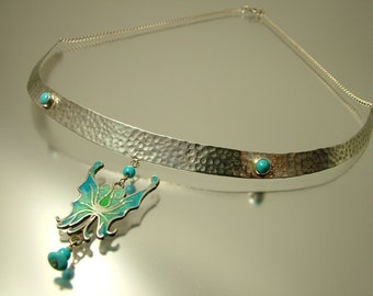 Vintage 1980s Art Nouveau, Arts n Crafts style, sterling silver hammered, turquoise, enamel butterfly collar choker necklace - jewelry