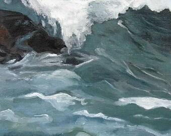 "Homage to Homer, #7  Dark black green waves oil painting, 12""X12"" , art  by Maine artist Adrienne Kernan LaVallee Art & Collectibles"