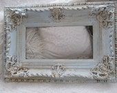 Ornate picture frame blue and cream distressed French Nordic inspired wide deep wood gesso shabby cottage chic home decor anita spero design