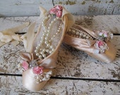 Vintage ballet pointe shoes faded blush pink shabby cottage chic embellished slippers pearls rhinestones and roses decor anita spero design