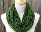 ON SALE - All Year Round Infinity Scarf - Irish Green Infinity Scarf - Dark Green Scarf - Cotton Scarf -  Circle Scarf - Ready to Ship