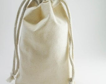 10 Large Muslin Bags Cotton Pouches (5 by 8 inch) for Jewelry, Gift Bags, Wedding Favors   Unbleached Muslin Favor Bags, Cotton Pouches