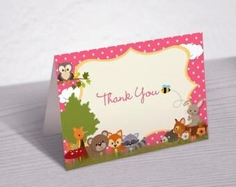 Pink Polka Dot Folded Woodland Animals Thank You Card--5x7 Card--Digital File