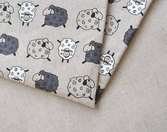 Linen sheep fabric 19,68 x 59 inch // Linen by the yard // Cute sheep fabric // Kids fabric