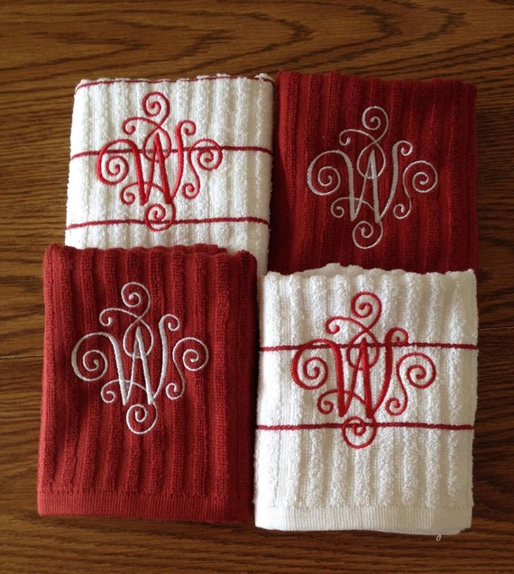 Monogrammed Kitchen Towels Christmas Gift For Her