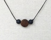 154. Boho Lava & Wood ~ Unisex Black Lava Aromatherapy Diffuser Necklace for Essential Oils Adjustable Brown, White, or Black Cord