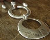 Long necklace - suede chocolate color - 2 pendants - boho jewelry - gypsy - hippy - Ibiza - Bahia Del Sol.