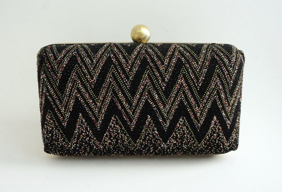 Black & Gold Multi Glitter Glam Minaudière Box Clutch - Evening/Bridesmaid/Prom Purse - Vintage Style - Includes Chain - Ready to Ship