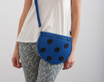 Polka Dot Bag Dark Blue Felt Bag Kawaii Bag Mini Hipster Purse Deep Blue Purse Cute Bag Gift For Her Small Purse Fun Cute Purse Black Dots