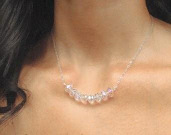 Crystal Bead Necklace, Swarovski Crystal Necklace, Carrie Bradshaw Necklace, Swarovski Bead Jewelry, Bridal Jewelry, Bridal Party Jewelry