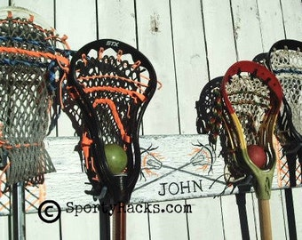 Sports Decor Lacrosse Gift Personalized Custom Lax Team Colors Stick Hanger Equipment Wall Rack  Functional Art Coach Gift Idea Sporty Racks