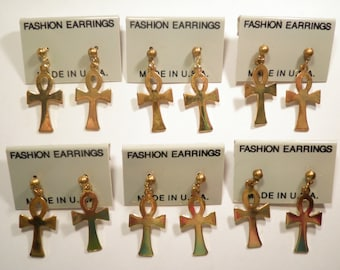 6 Pairs of Goldplated Cross Earrings