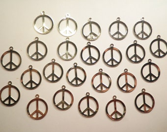 24 Silverplated Peace Sign Charms