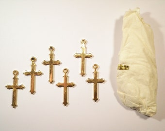 6 Vintage English Gothic Style Polished Brass Crosses