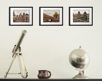 Amsterdam Prints, Set of 3 Prints, Photography Set, Amsterdam, Art Set, Brown Wall Art, Architecture, Print Set of Three, 5x7