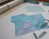 Magical Stone II. original linocut monotype print, geometric tribal illustration