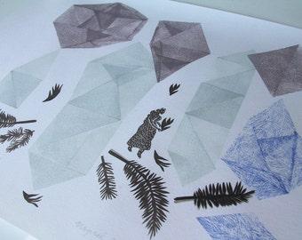 Magical Plant no. 27 original linocut monotype print by Paulina R. Vårregn, one of the kind geometry folk art illustration