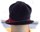 Black Wine Velvet Cloche Hat Medium