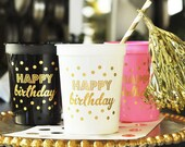 Happy Birthday Cups, Birthday Decor, Party Cups, Pink and Gold Party, Happy Birthday -set of 25