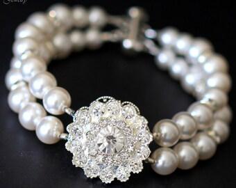 Pearl Bracelet Crystal Wedding Bracelet Bridal Bracelet Rhinestone Bracelet Wedding Pearl Bracelet Cuff Bracelet Swarovski Pearl CELINA